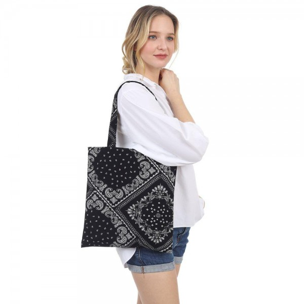 """Paisley Print Tote Bag.   - Inside Pocket - Approximately 14"""" x 13"""""""