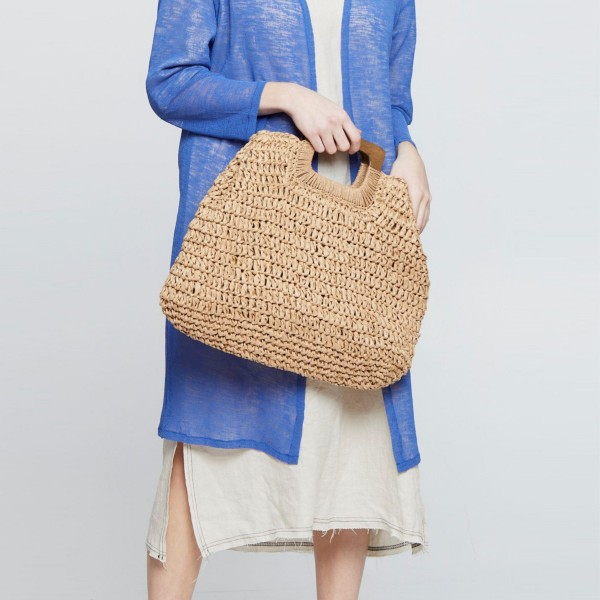 """Do Everything in Love Brand Rectangular Straw Bag Featuring Wooden Handles.   - 100% Paper  - Approximately 14"""" L x 18.5"""" W"""