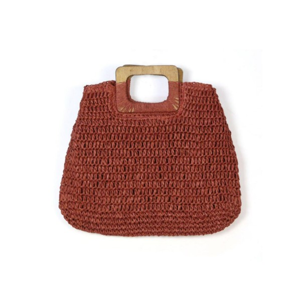 Wholesale do Everything Love Brand Rectangular Straw Bag Wooden Handles Paper L