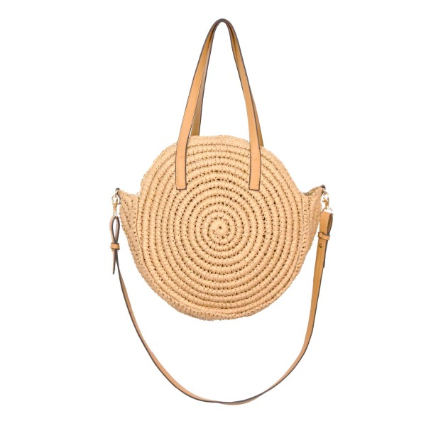 """Do Everything in Love Textured Round Straw Bag Featuring Cross Body Strap.   - 100% Paper - Approximately 13"""" L x 4"""" W - Zipper Closure  - Inside Pocket"""