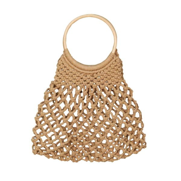 """Do Everything in Love Brand Macrame Bag Featuring Wooden Handles.   - 100% Cotton - Approximately 14"""" L x 11"""" W"""