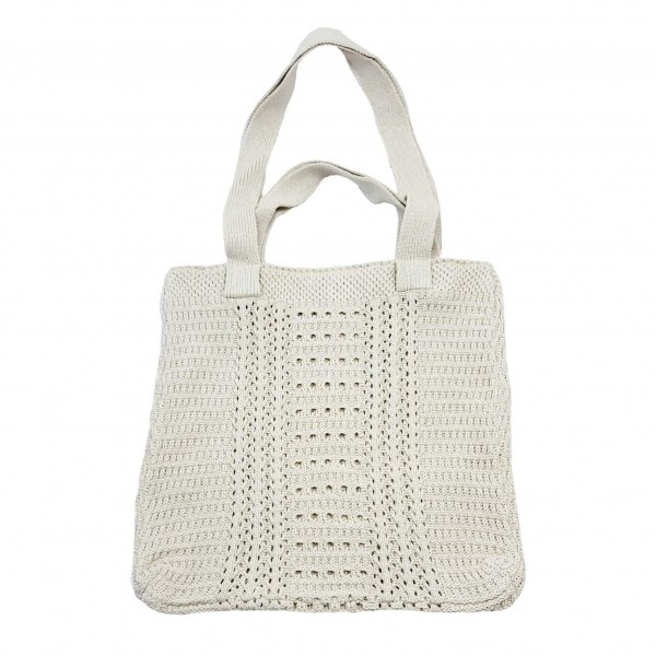 """Knitted Tote Bag Featuring Textured Details.   - 100% Polyester - Approximately 14"""" x 14"""" x 10"""""""