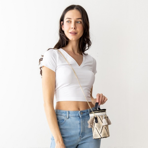 """Tribal Bucket Cross Body Bag Featuring Tassel Accents.   - Zipper Closure  - 100% PU - Approximately 7"""" x 5"""" - Gold Chain Strap"""