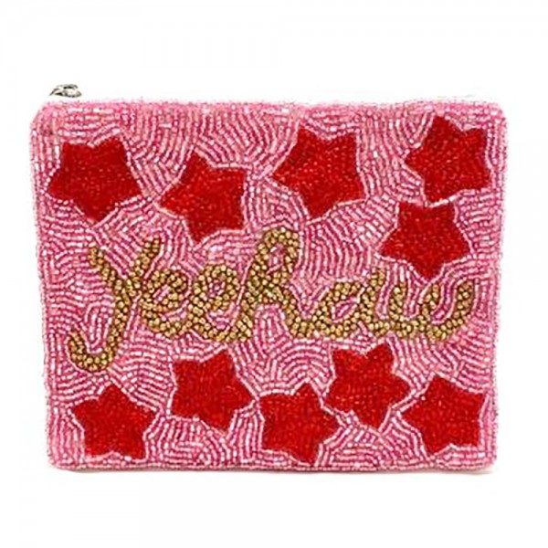 """Beaded """"Yeehaw"""" Pouch Featuring Star Accents.   - Zipper Closure - Approximately 5.5"""" x 4.5"""""""