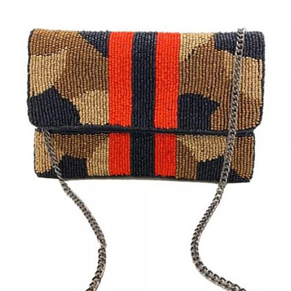 """Beaded Camouflage Cross Body Bag featuring Iconic Red Stripe.  - Snap Closure - Can be Worn as a Cross Body or a Clutch - Pocket Inside - Chain Strap 22"""" Long - Approximately 7.25"""" x 4.75"""""""