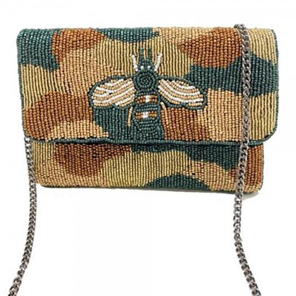 """Beaded Camouflage Cross Body Bag featuring Iconic Bee -Approximately 7.5"""" x 4.5"""" - Snap Closure - Can be Worn as a Cross Body or a Clutch - Pocket Inside - Chain Strap 21"""" Long"""