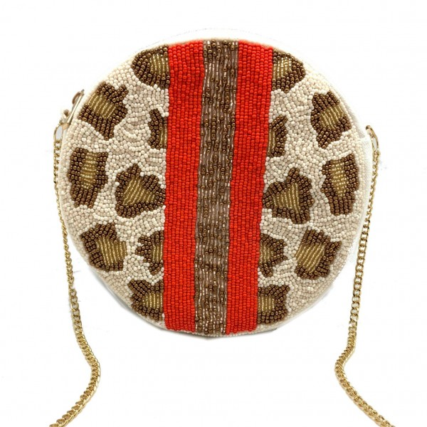 """Beaded Animal Print Cross Body Handbag featuring Iconic Red Stripe.   - Removable Chain Strap 22"""" Long - Approximately 7.5"""" in diameter - Zipper Closure - Can be Worn as a Cross Body or Carried as a Clutch"""