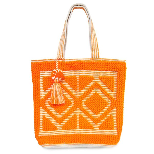 """Woven Tote Bag Featuring Tassel Accent and Pom-Pom Detail.   - Approximately 20"""" L x 17"""" T - Features Magnetic Closure"""