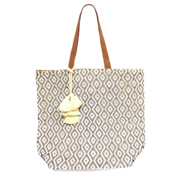 """Canvas Tote Bag Featuring Tassel Accents.   - Featuring Magnetic Button Closure  - Approximately 18"""" T x 20"""" W"""