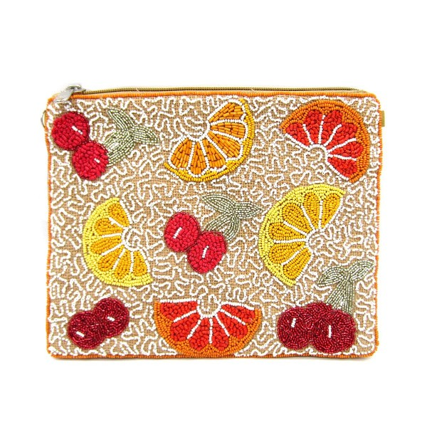 """Beaded Cross Body Bag Featuring Fruit Accents.   - Approximately 9.5"""" L x 7.5"""" T  - Zipper Closure  - Detachable Silver Crossbody Chain"""