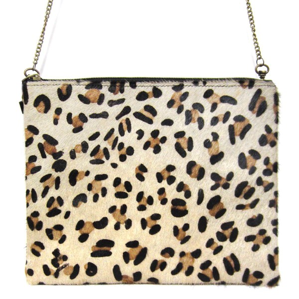 """Textured Animal Print Handbag Featuring a Detachable Chain.   - Chain Approximately 21"""" in Length - Bag Approximately 10"""" in Width 7.5"""" in Length"""