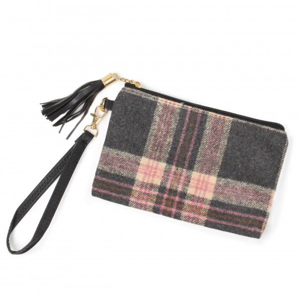 """Wristlet featuring faux leather tassel zipper pull -Removable faux leather wristlet strap -100% Polyester -Approximately 8""""W x 5""""H"""