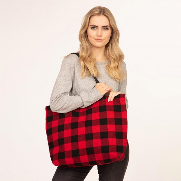 """Buffalo Check Tote Bag Featuring Faux Leather Handles.  - Zipper Closure - Open Lined Inside - One Functional Inside Pocket - PU Handles - Approximately 20"""" W x 16"""" H - 100% Polyester"""