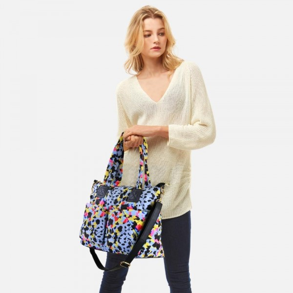 """Multi-colored quilted tote bag featuring top handles and removable cross body strap.  -Full zipper closure -3 internal pockets -3 external pockets -Approximately 15.5"""" W x 11"""" H x 5"""" D"""
