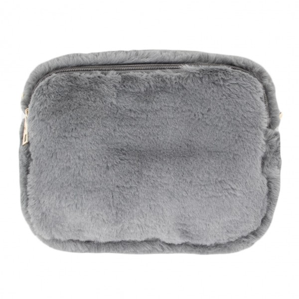"""Faux fur 'camera bag' purse with removable faux leather straps  -May be worn as handbag or belt bag -Shoulder strap approximately 28.5""""- 57"""" L -Belt strap approximately 45"""" L -2 internal pockets -Full zip closure -100% Polyester"""