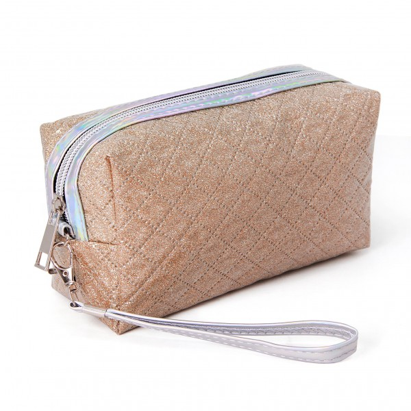 """Glittered Handbag Pouch  - Zipper Closure - Removable Iridescent Wristlet Strap - Approximately 4"""" Tall x 8"""" Long x 2"""" Wide - 100% PVC"""
