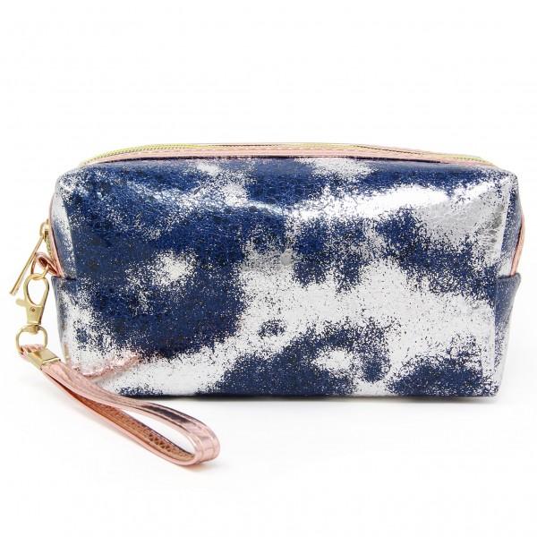 "Metallic Foil Textured Handbag Pouch  - Zipper Closure - Removable Wristlet Strap - Approximately 4"" Tall x 8"" Long x 2"" Wide - 100% PVC"