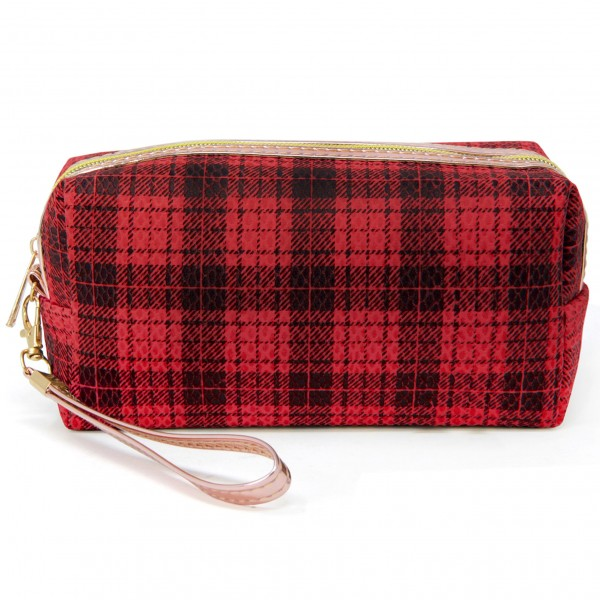 """Plaid Handbag Pouch  - Zipper Closure - Removable Wristlet Strap - Approximately 4"""" Tall x 8"""" Long x 2"""" Wide - 100% Polyester"""