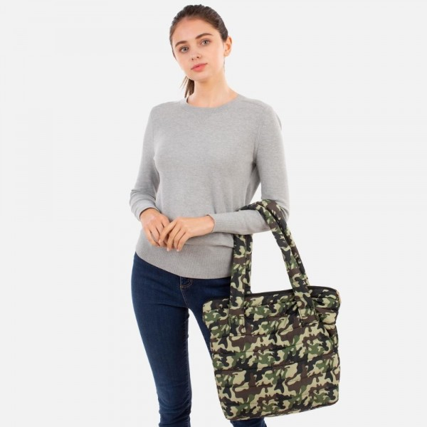 """Quilted Nylon Camo Print Handbag  - Zip Closure - 100% Polyester - Approximately 12"""" H x 16"""" W x 3"""" D - 11"""" Handles"""