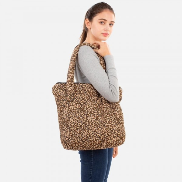"""Quilted Nylon Leopard Print Handbag  - Zip Closure - 100% Polyester - Approximately 12"""" H x 16"""" W x 3"""" D - 11"""" Handles"""
