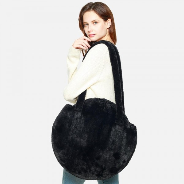 """Faux Fur Tote Bag   -21"""" Handles  -Approximately 18"""" x 19""""  -100% Polyester"""