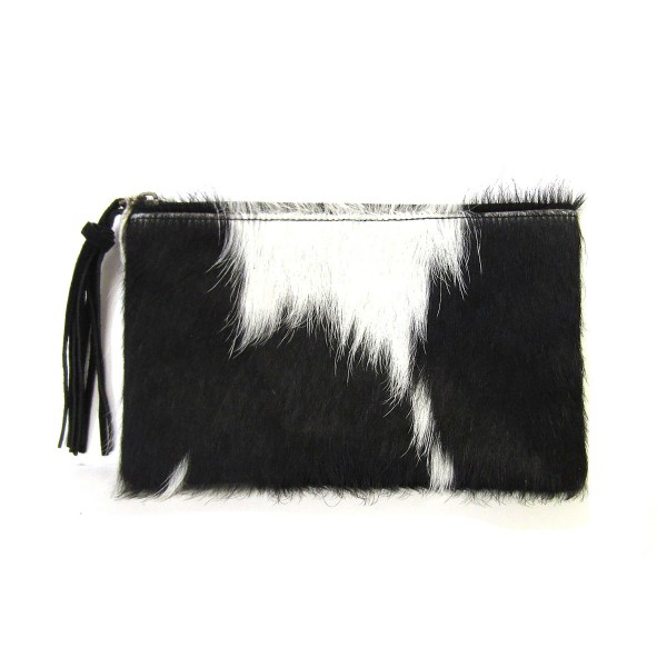 """Genuine Cow Hide Pouch With Leather Tassel Zipper Pull  * Genuine Cow Hide: Patterns and Coloration Will Vary *  - Zipper Closure - Approximately 8.5"""" W x 5.25"""" H"""