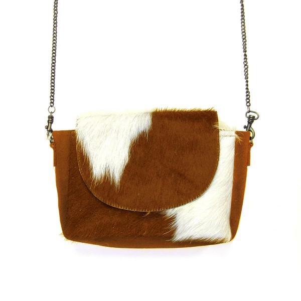 """Genuine Cow Hide and Canvas Crossbody Handbag With Gold Chain Link Strap  * Genuine Cow Hide: Patterns and Coloration Will Vary *  - Magnetic Closure - Removable Strap Approximately 48"""" Length - Approximately 8"""" W x 1.5"""" D x 5"""" H"""