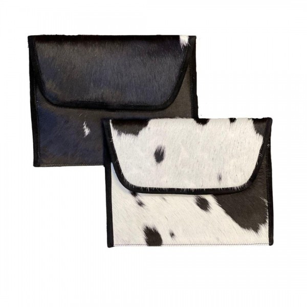 """Genuine Cow Hide and Canvas Envelope Bag With Leather Accents  * Genuine Cow Hide: Patterns and Coloration Will Vary *  - Magnetic Closure - Internal Zipper Pocket - Removable Chain Link Strap 24"""" Length - Approximately 11"""" W x 8.5"""" H"""