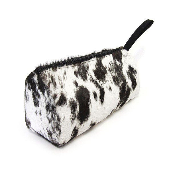 """Genuine Cow Hide Handbag Pouch  * Genuine Cow Hide: Patterns and Coloration Will Vary *  - Zipper Closure - Canvas Strap - Approximately 9.5"""" L x 4"""" W"""