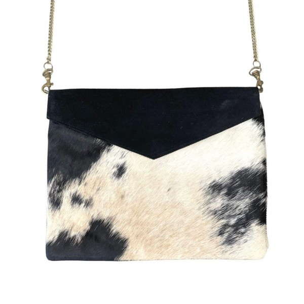"""Genuine Cow Hide and Canvas Envelope Bag With Leather Accents  * Genuine Cow Hide: Patterns and Coloration Will Vary *  - Magnetic Closure - Internal Pocket - Removable Chain Link Strap 24"""" Length - Approximately 11"""" W x 8.5"""" H"""