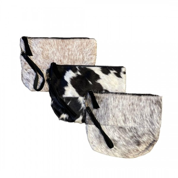 """Genuine Cow Hide Wristlet Handbag With Removable Leather Strap  * Genuine Cow Hide: Patterns and Coloration Will Vary *  - Zipper Closure - Internal Zipper Pocket - Approximately 11"""" W x 9"""" H x 2.25"""" D"""