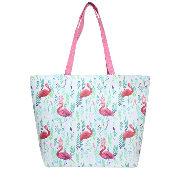Wholesale flamingo printed tote bag top zipper closure lined inside pockets PU l