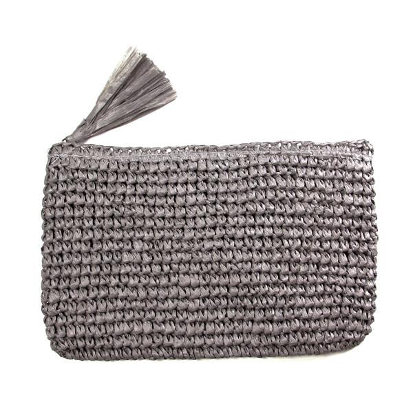 Wholesale woven straw clutch tassel zipper closure paper