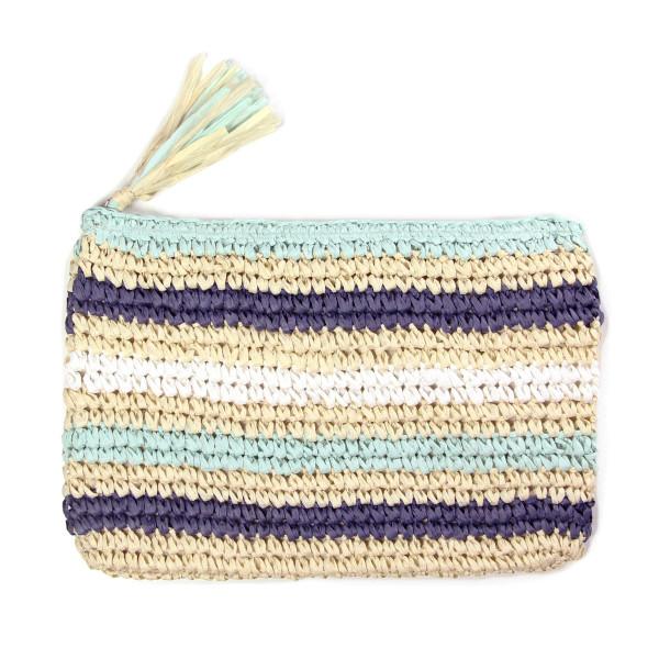 Wholesale woven straw clutch tassel zipper closure striped print paper