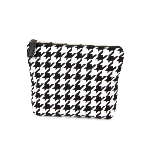 Wholesale houndstooth pouch zipper closure W H Acrylic