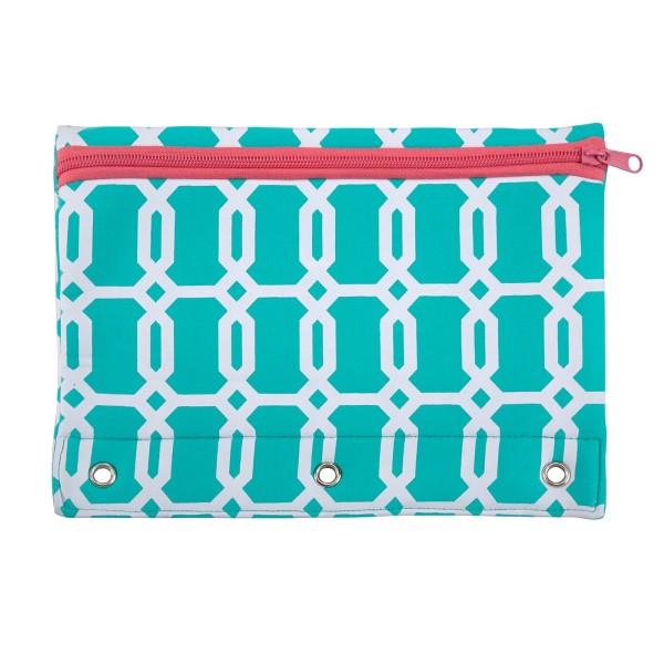 Wholesale neoprene pencil pouch fits standard three ring binder zipper closure e