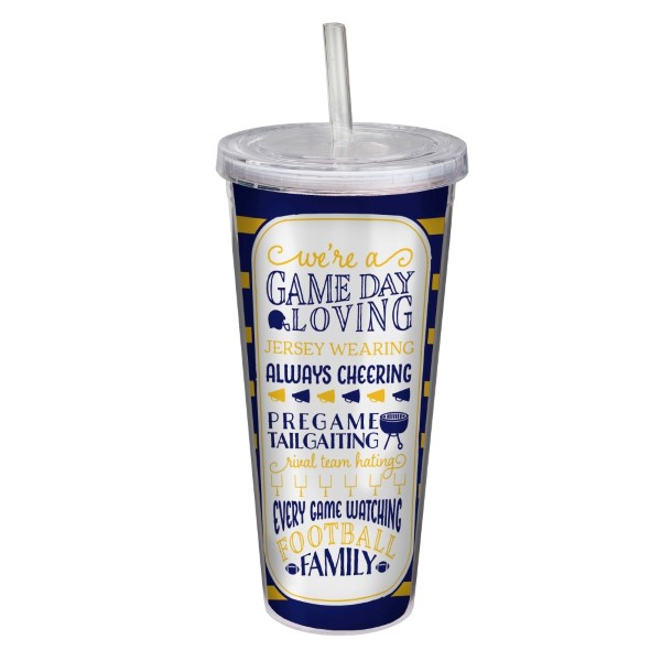 Wholesale game day acrylic sipper cup navy yellow reads We re game day loving je