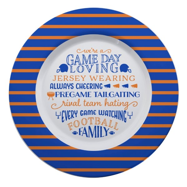 Wholesale gameday melamine plate royal orange reads We re game day loving jersey