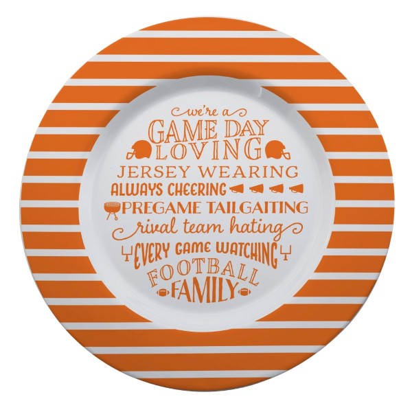 Wholesale gameday melamine plate orange white reads We re game day loving jersey