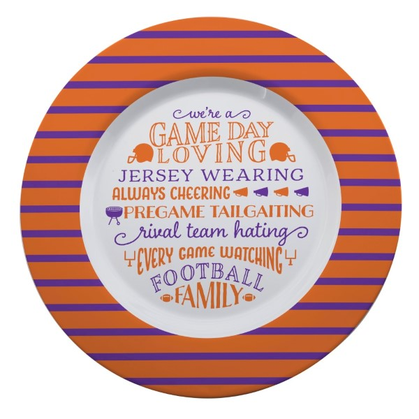 Wholesale gameday melamine plate purple white reads We re game day loving jersey