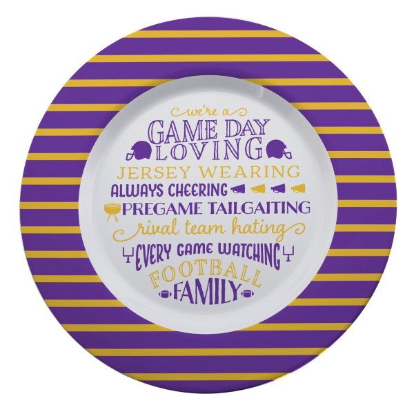 Wholesale gameday melamine plate purple yellow reads We re game day loving jerse