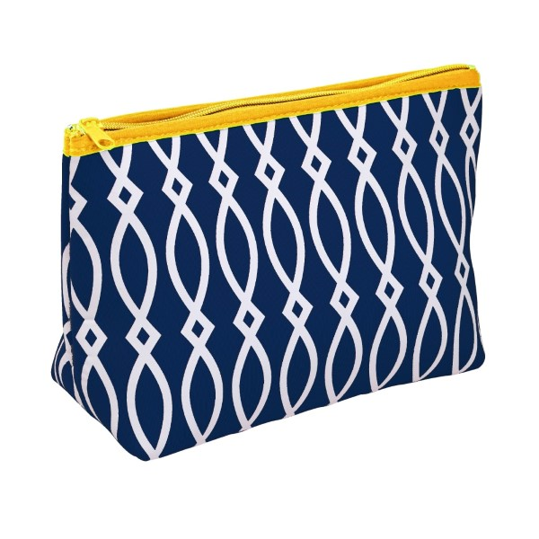 """Small neoprene zipper pouch with a navy blue and yellow print. Perfect for monogramming! Measures approximately 10.5"""" x 7"""" x 3"""" in size."""