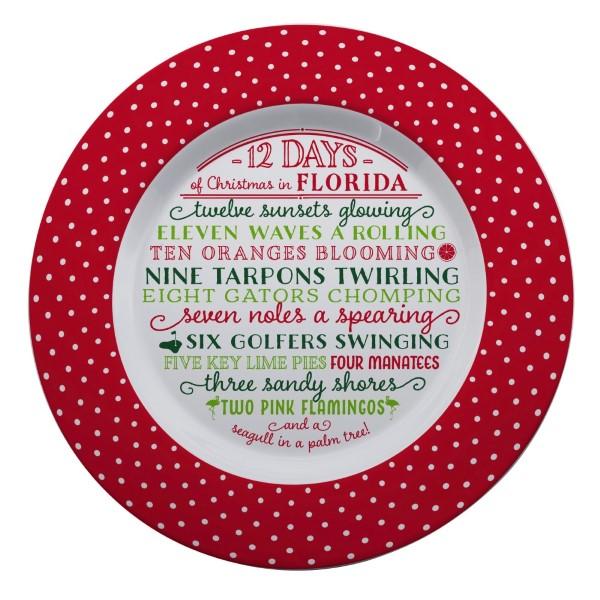 Wholesale melamine Days Christmas Florida platter dishwasher microwave safe diam