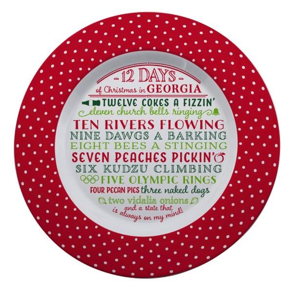 Wholesale melamine Days Christmas Georgia platter dishwasher microwave safe diam