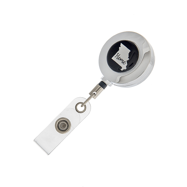 """Missouri """"Home"""" ID badge holder with retractable reel."""
