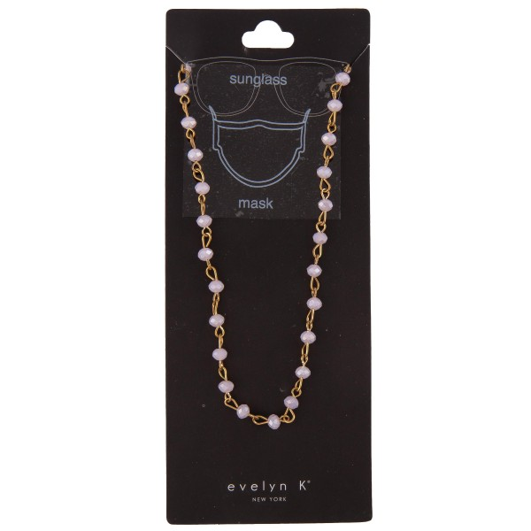 "Do everything in Love Brand Gold Tone Faceted Beaded Mask Chain/Sunglasses Holder.  - Secures Face Mask/Sunglasses Around Neck - Approximately 30"" L  - Bead Size: 4mm"