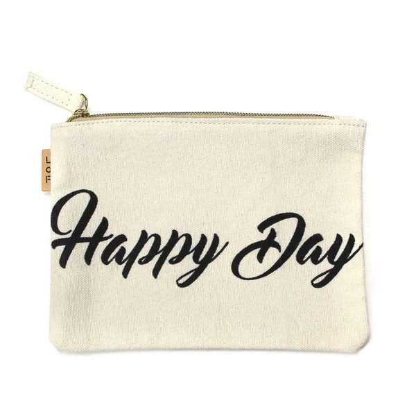 """Happy Day"" Canvas Travel Pouch.  - Open lined inside - Zipper closure - Approximately 7"" W x 6"" T  - 100% Cotton"