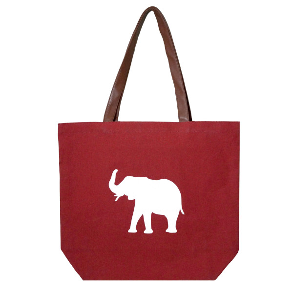 """Crimson tote bag with a white elephant design, a flat bottom and faux leather handles. Measures 18"""" x 12"""" with a 9"""" shoulder drop."""