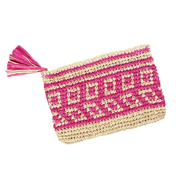 Wholesale woven straw pouch top zipper lined inside