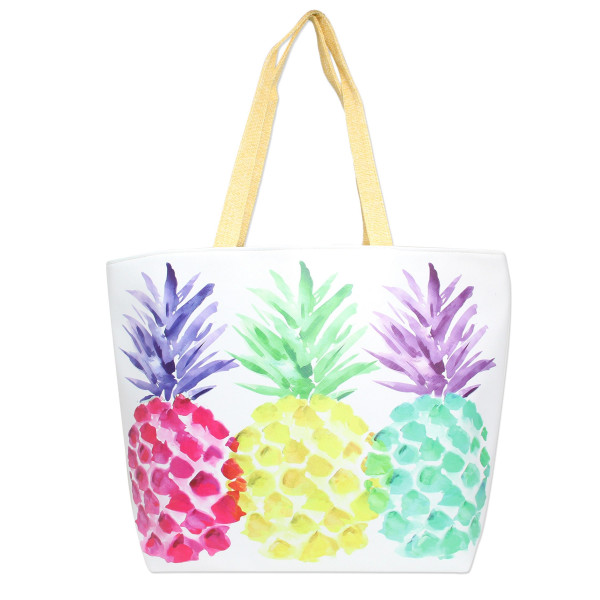 "Multicolor Pineapple Canvas Tote Bag.  - Lined inside with pockets - Zipper closure - Approximately 20"" W x 14"" T - 50% PU, 50% Linen"